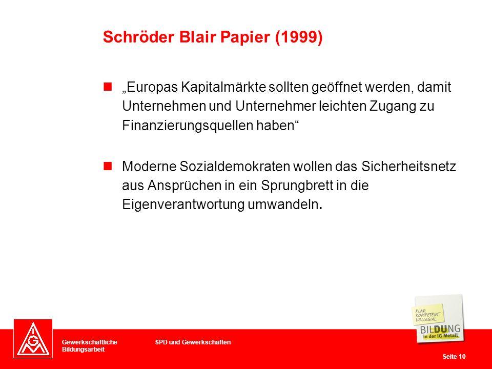 Gewerkschaftliche Bildungsarbeit Seite 10 Europas Kapitalmärkte sollten geöffnet werden, damit Unternehmen und Unternehmer leichten Zugang zu Finanzierungsquellen haben Moderne Sozialdemokraten wollen das Sicherheitsnetz aus Ansprüchen in ein Sprungbrett in die Eigenverantwortung umwandeln.