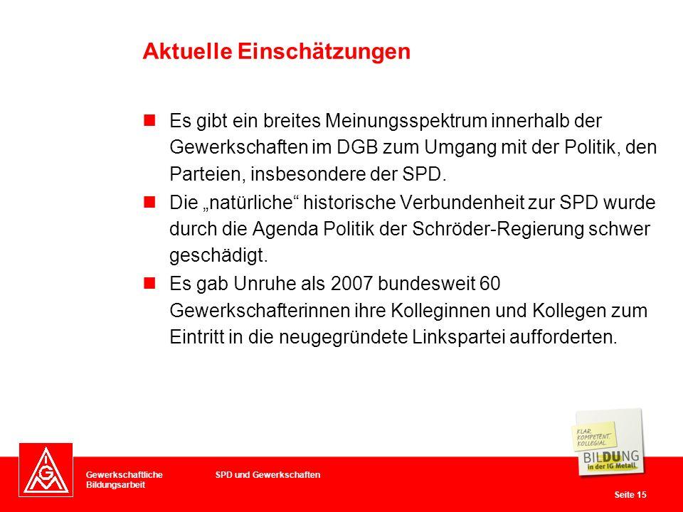 Gewerkschaftliche Bildungsarbeit Seite 15 Es gibt ein breites Meinungsspektrum innerhalb der Gewerkschaften im DGB zum Umgang mit der Politik, den Parteien, insbesondere der SPD.