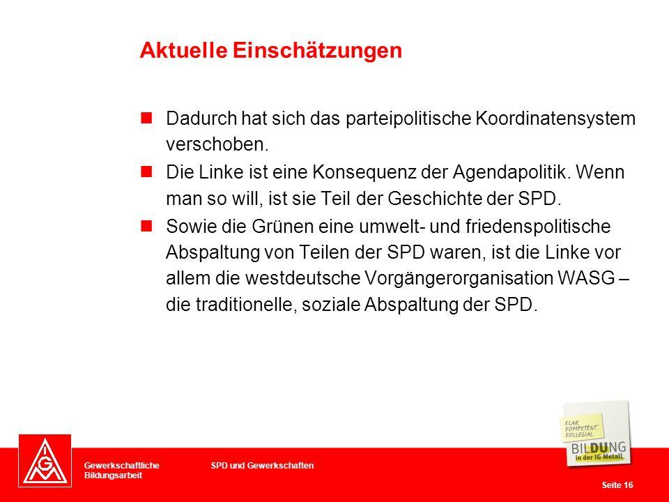 Gewerkschaftliche Bildungsarbeit Seite 16 Dadurch hat sich das parteipolitische Koordinatensystem verschoben.
