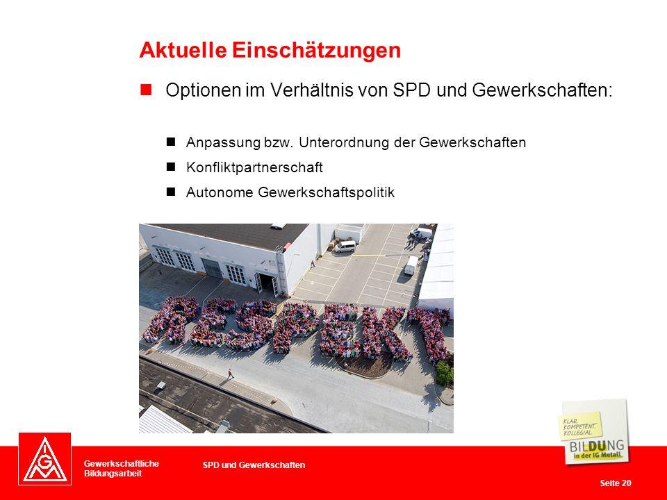 Gewerkschaftliche Bildungsarbeit Seite 20 Optionen im Verhältnis von SPD und Gewerkschaften: Anpassung bzw.