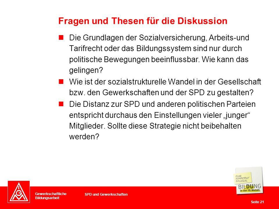 Gewerkschaftliche Bildungsarbeit Seite 21 Die Grundlagen der Sozialversicherung, Arbeits-und Tarifrecht oder das Bildungssystem sind nur durch politische Bewegungen beeinflussbar.