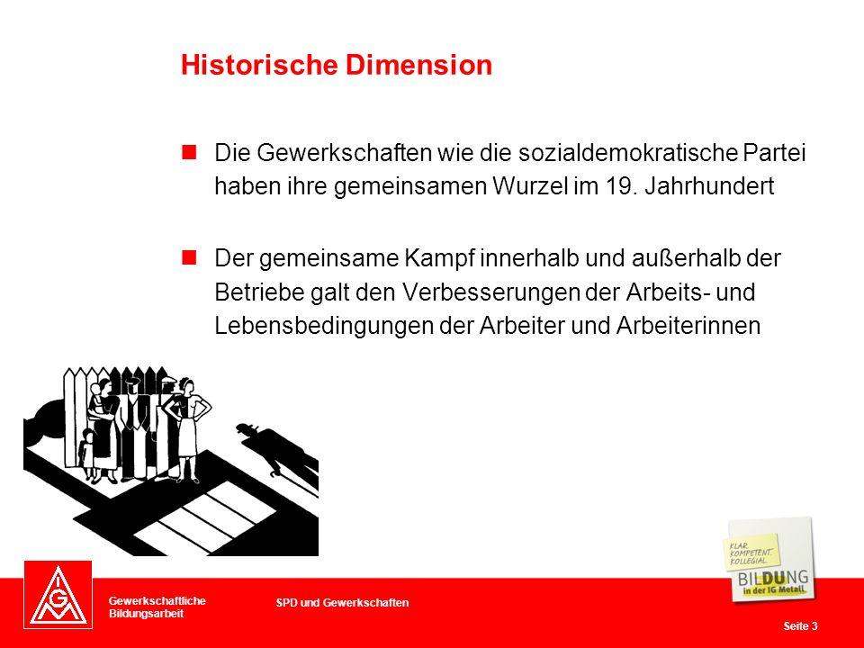 Gewerkschaftliche Bildungsarbeit Seite 3 Die Gewerkschaften wie die sozialdemokratische Partei haben ihre gemeinsamen Wurzel im 19.