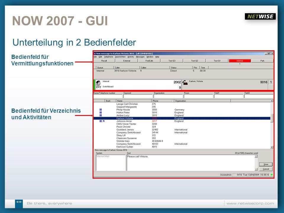 Bedienfeld für Vermittlungsfunktionen NOW 2007 - GUI Unterteilung in 2 Bedienfelder Bedienfeld für Verzeichnis und Aktivitäten
