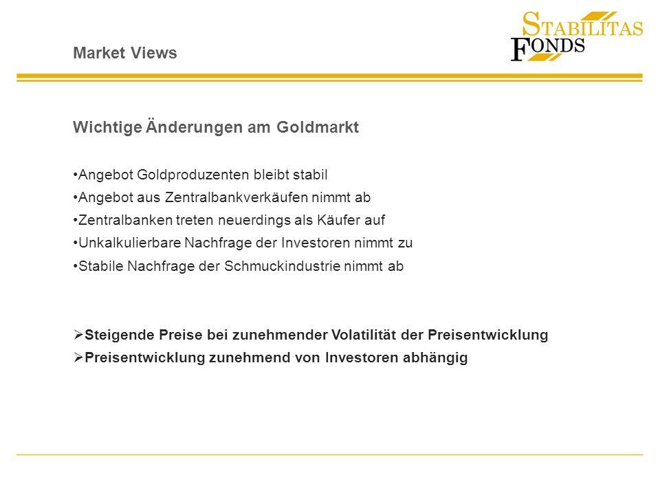 Market Views Wichtige Änderungen am Goldmarkt Angebot Goldproduzenten bleibt stabil Angebot aus Zentralbankverkäufen nimmt ab Zentralbanken treten neu