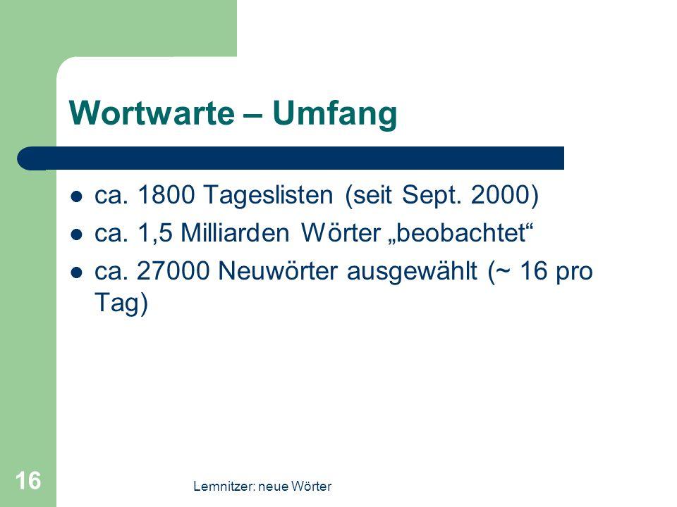 Lemnitzer: neue Wörter 16 Wortwarte – Umfang ca. 1800 Tageslisten (seit Sept. 2000) ca. 1,5 Milliarden Wörter beobachtet ca. 27000 Neuwörter ausgewähl