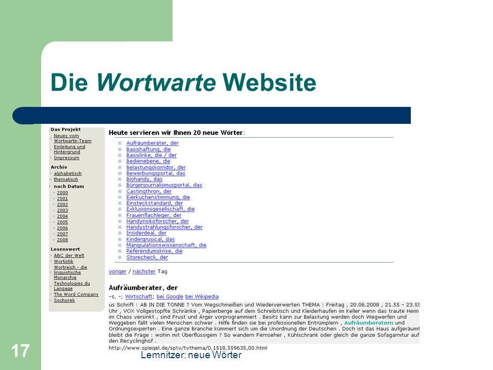 Lemnitzer: neue Wörter 17 Die Wortwarte Website