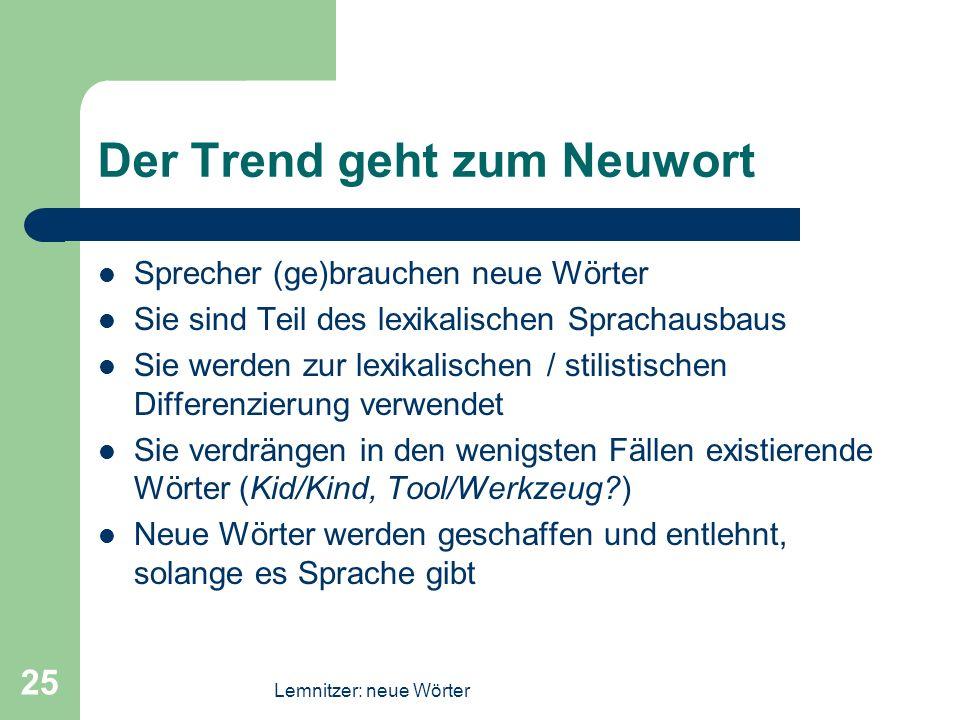 Lemnitzer: neue Wörter 25 Der Trend geht zum Neuwort Sprecher (ge)brauchen neue Wörter Sie sind Teil des lexikalischen Sprachausbaus Sie werden zur le