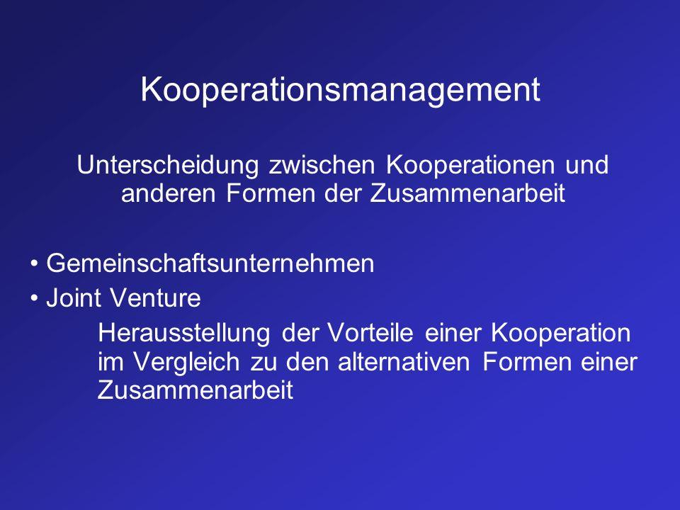 Kooperationsmanagement Unterscheidung zwischen Kooperationen und anderen Formen der Zusammenarbeit Gemeinschaftsunternehmen Joint Venture Herausstellu