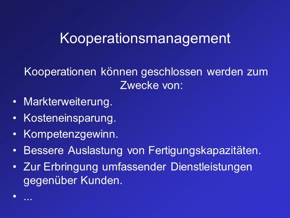 Kooperationsmanagement Kooperationen können geschlossen werden zum Zwecke von: Markterweiterung. Kosteneinsparung. Kompetenzgewinn. Bessere Auslastung