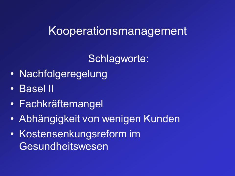 Kooperationsmanagement Schlagworte: Nachfolgeregelung Basel II Fachkräftemangel Abhängigkeit von wenigen Kunden Kostensenkungsreform im Gesundheitswes