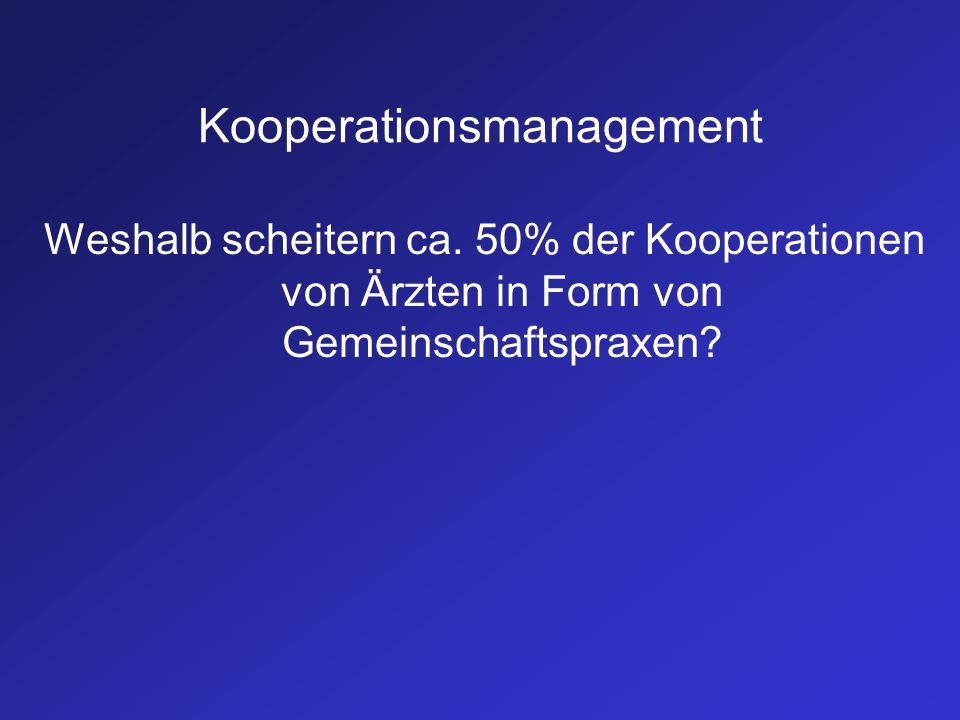 Kooperationsmanagement Weshalb scheitern ca. 50% der Kooperationen von Ärzten in Form von Gemeinschaftspraxen?