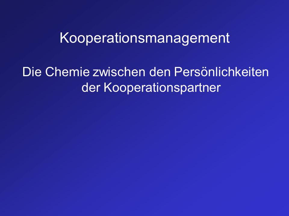 Kooperationsmanagement Die Chemie zwischen den Persönlichkeiten der Kooperationspartner