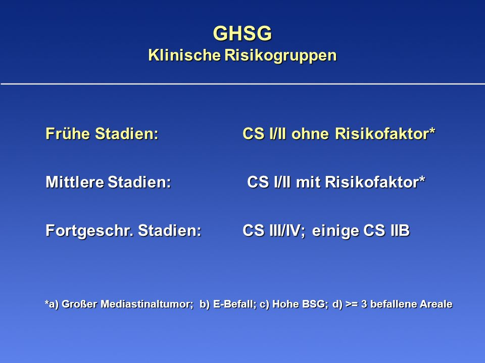 HD10-Studie für Patienten in frühen Stadien Vergleich der Chemotherapie (OS) * Median 53 Monate; n = 1.152