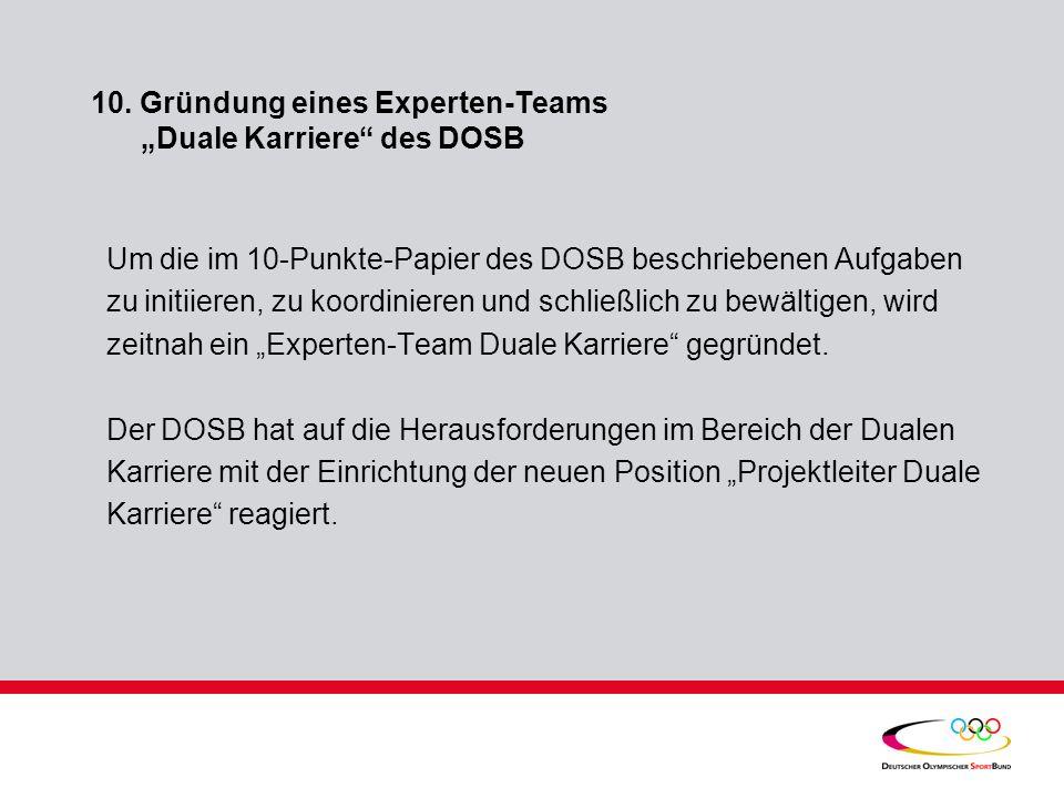 10. Gründung eines Experten-Teams Duale Karriere des DOSB Um die im 10-Punkte-Papier des DOSB beschriebenen Aufgaben zu initiieren, zu koordinieren un