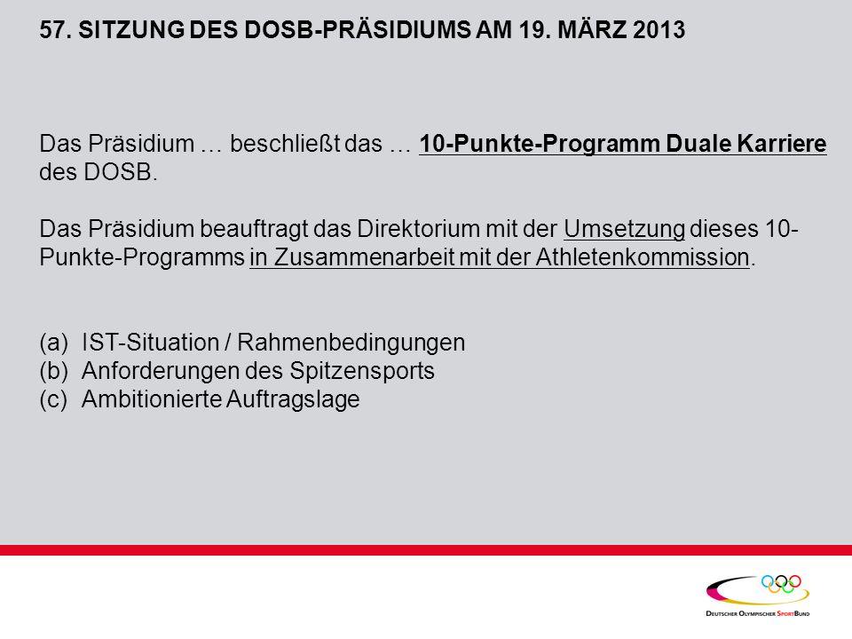 57.SITZUNG DES DOSB-PRÄSIDIUMS AM 19.