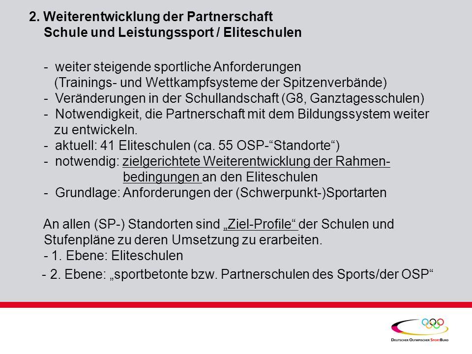 2. Weiterentwicklung der Partnerschaft Schule und Leistungssport / Eliteschulen - weiter steigende sportliche Anforderungen (Trainings- und Wettkampfs