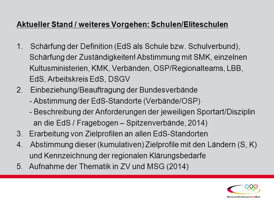 Aktueller Stand / weiteres Vorgehen: Schulen/Eliteschulen 1.Schärfung der Definition (EdS als Schule bzw.