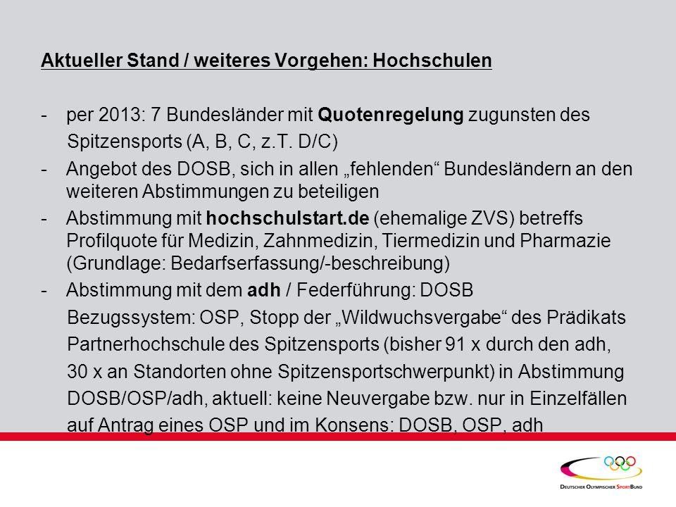 Aktueller Stand / weiteres Vorgehen: Hochschulen -per 2013: 7 Bundesländer mit Quotenregelung zugunsten des Spitzensports (A, B, C, z.T. D/C) -Angebot