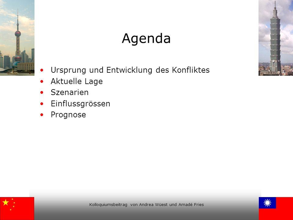 Kolloquiumsbeitrag von Andrea Wüest und Amadé Fries Agenda Ursprung und Entwicklung des Konfliktes Aktuelle Lage Szenarien Einflussgrössen Prognose