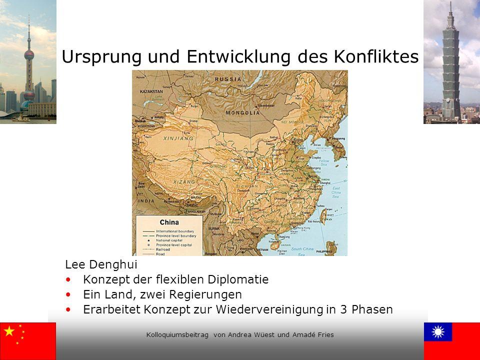 Kolloquiumsbeitrag von Andrea Wüest und Amadé Fries Ursprung und Entwicklung des Konfliktes Lee Denghui Konzept der flexiblen Diplomatie Ein Land, zwe