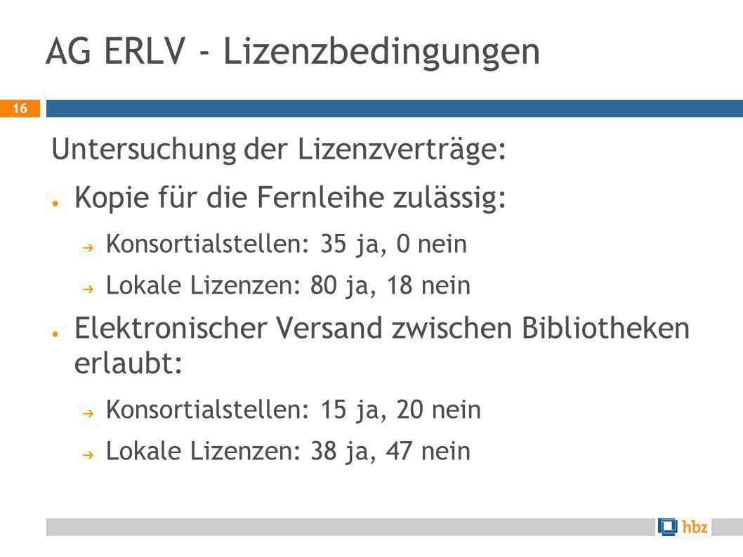 16 AG ERLV - Lizenzbedingungen Untersuchung der Lizenzverträge: Kopie für die Fernleihe zulässig: Konsortialstellen: 35 ja, 0 nein Lokale Lizenzen: 80