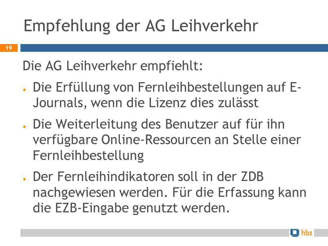 19 Empfehlung der AG Leihverkehr Die AG Leihverkehr empfiehlt: Die Erfüllung von Fernleihbestellungen auf E- Journals, wenn die Lizenz dies zulässt Di