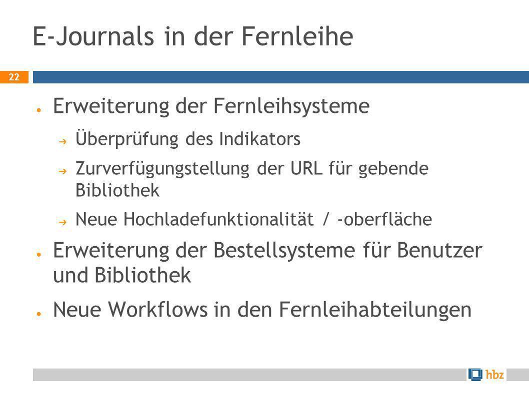 22 E-Journals in der Fernleihe Erweiterung der Fernleihsysteme Überprüfung des Indikators Zurverfügungstellung der URL für gebende Bibliothek Neue Hoc