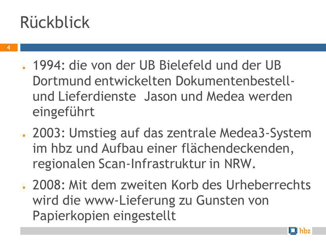 4 Rückblick 1994: die von der UB Bielefeld und der UB Dortmund entwickelten Dokumentenbestell- und Lieferdienste Jason und Medea werden eingeführt 200
