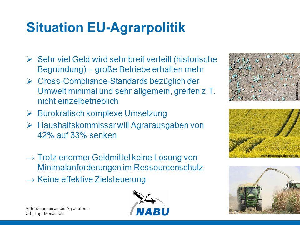 Situation EU-Agrarpolitik Sehr viel Geld wird sehr breit verteilt (historische Begründung) – große Betriebe erhalten mehr Cross-Compliance-Standards b