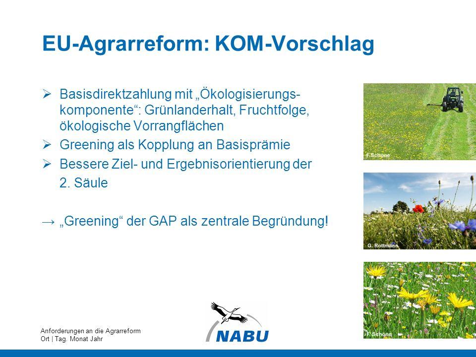 EU-Agrarreform: KOM-Vorschlag Basisdirektzahlung mit Ökologisierungs- komponente: Grünlanderhalt, Fruchtfolge, ökologische Vorrangflächen Greening als
