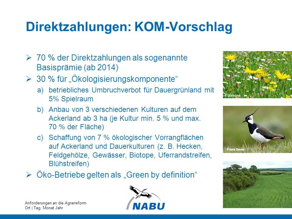 Direktzahlungen: KOM-Vorschlag 70 % der Direktzahlungen als sogenannte Basisprämie (ab 2014) 30 % für Ökologisierungskomponente a)betriebliches Umbruc