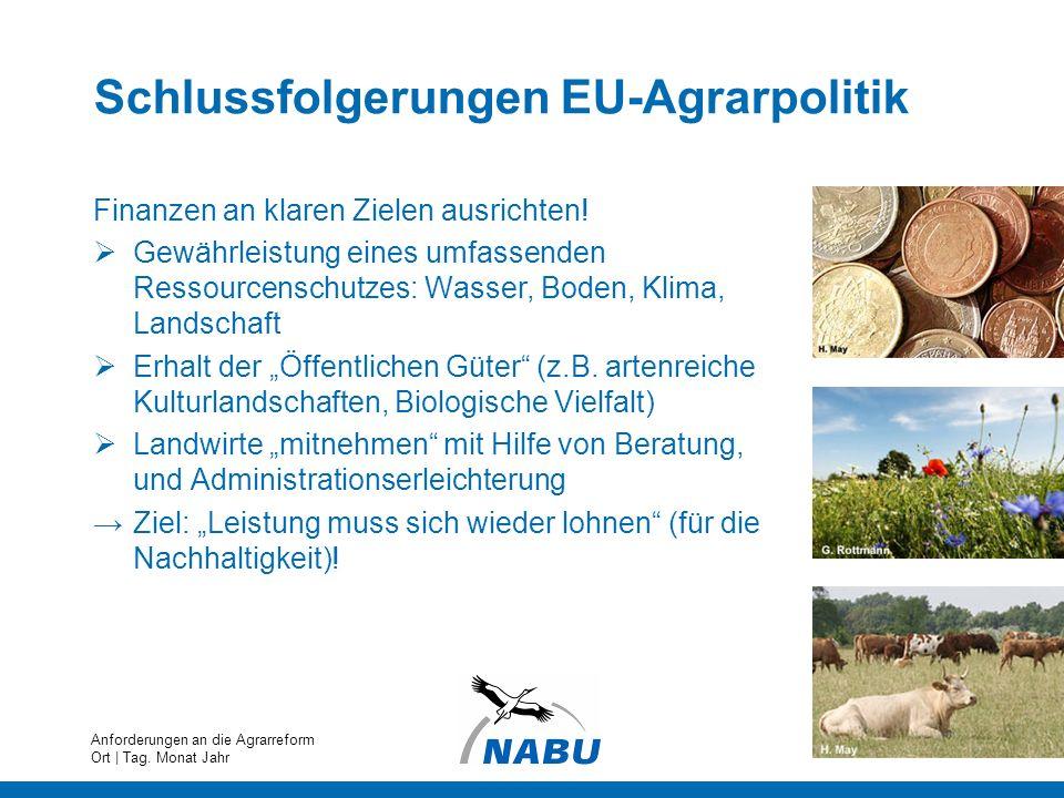 Schlussfolgerungen EU-Agrarpolitik Finanzen an klaren Zielen ausrichten! Gewährleistung eines umfassenden Ressourcenschutzes: Wasser, Boden, Klima, La