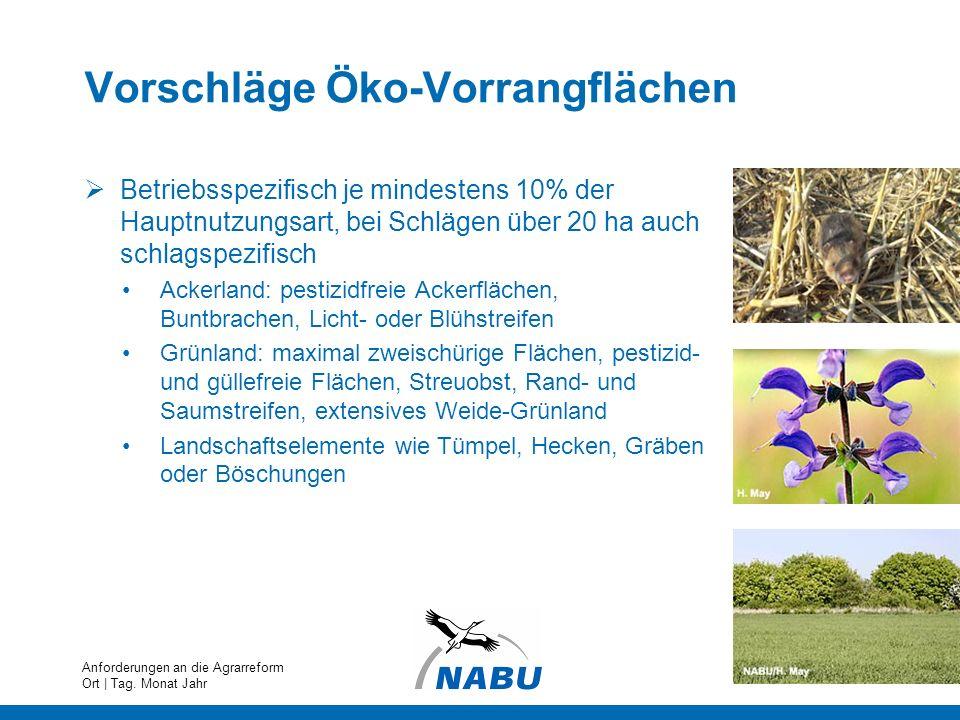Vorschläge Öko-Vorrangflächen Betriebsspezifisch je mindestens 10% der Hauptnutzungsart, bei Schlägen über 20 ha auch schlagspezifisch Ackerland: pest