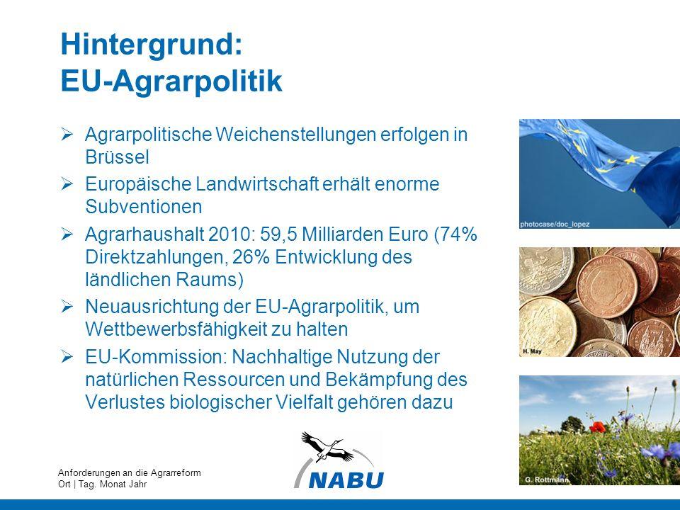 Hintergrund: EU-Agrarpolitik Agrarpolitische Weichenstellungen erfolgen in Brüssel Europäische Landwirtschaft erhält enorme Subventionen Agrarhaushalt