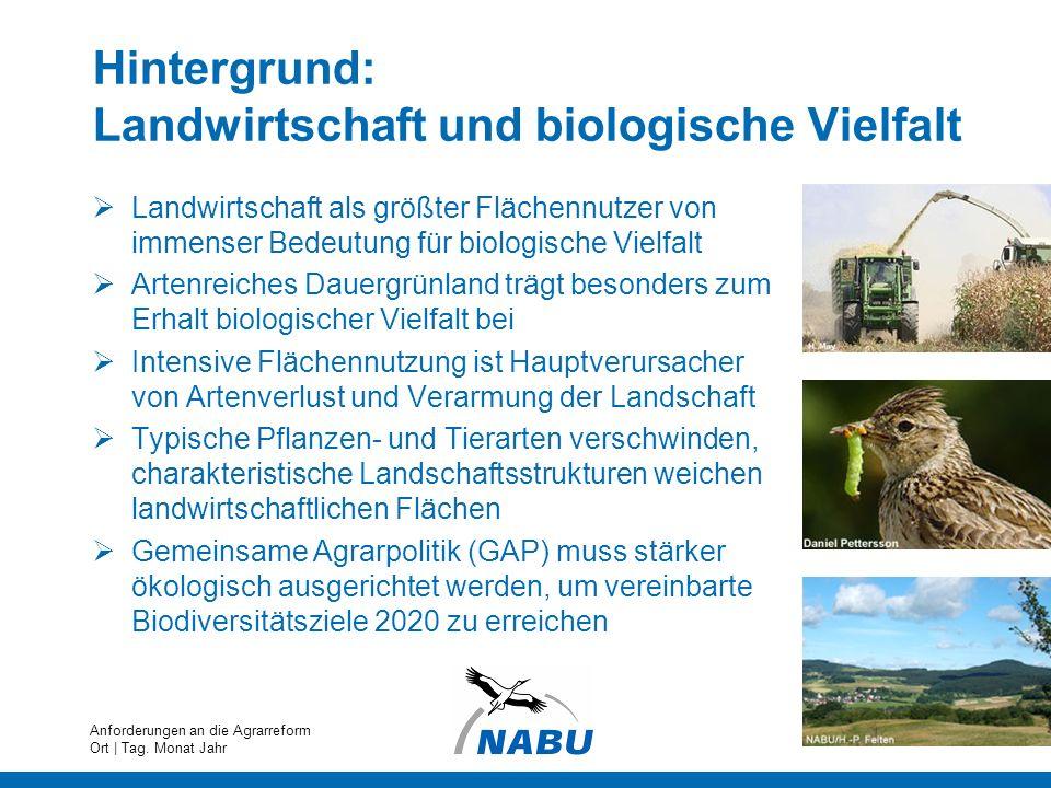 Hintergrund: Landwirtschaft und biologische Vielfalt Landwirtschaft als größter Flächennutzer von immenser Bedeutung für biologische Vielfalt Artenrei