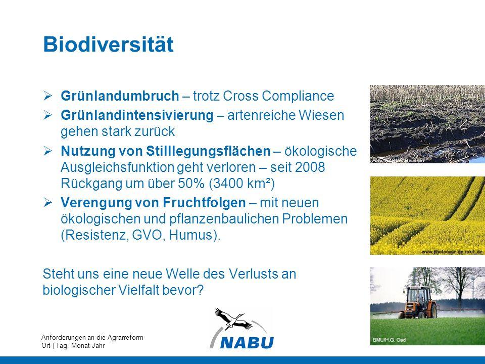 Biodiversität Grünlandumbruch – trotz Cross Compliance Grünlandintensivierung – artenreiche Wiesen gehen stark zurück Nutzung von Stilllegungsflächen