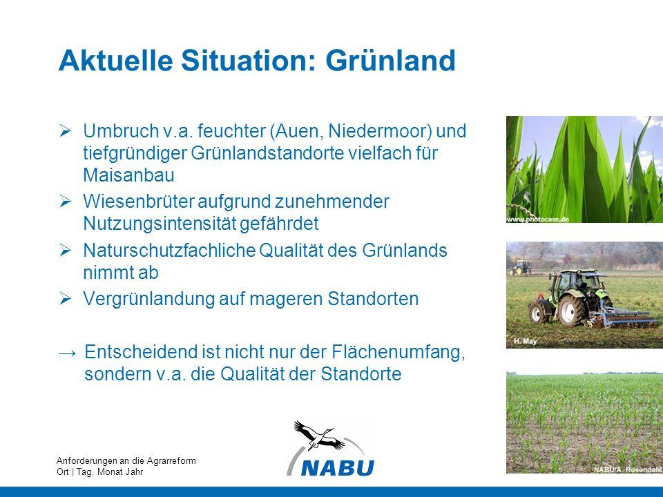 Aktuelle Situation: Grünland Umbruch v.a. feuchter (Auen, Niedermoor) und tiefgründiger Grünlandstandorte vielfach für Maisanbau Wiesenbrüter aufgrund