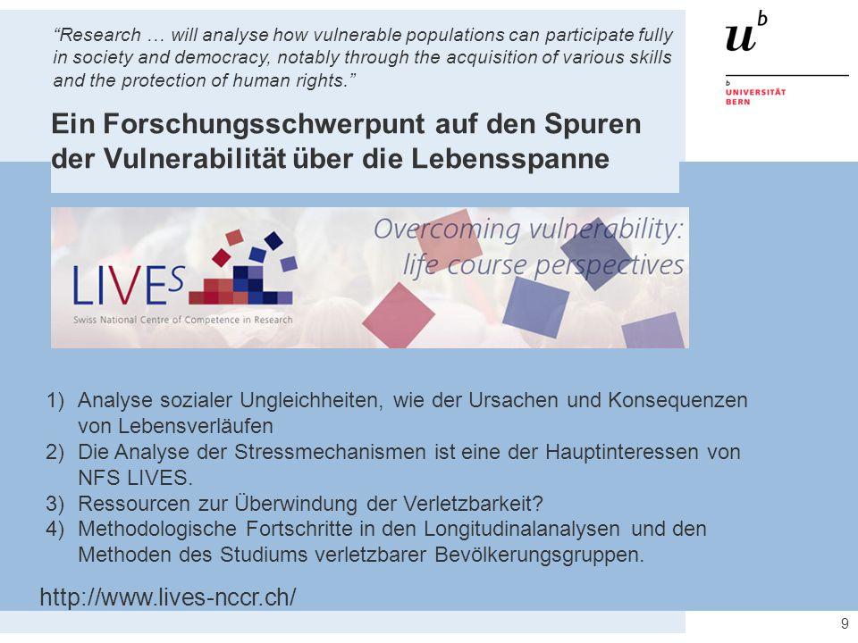 9 Ein Forschungsschwerpunt auf den Spuren der Vulnerabilität über die Lebensspanne http://www.lives-nccr.ch/ 1)Analyse sozialer Ungleichheiten, wie de