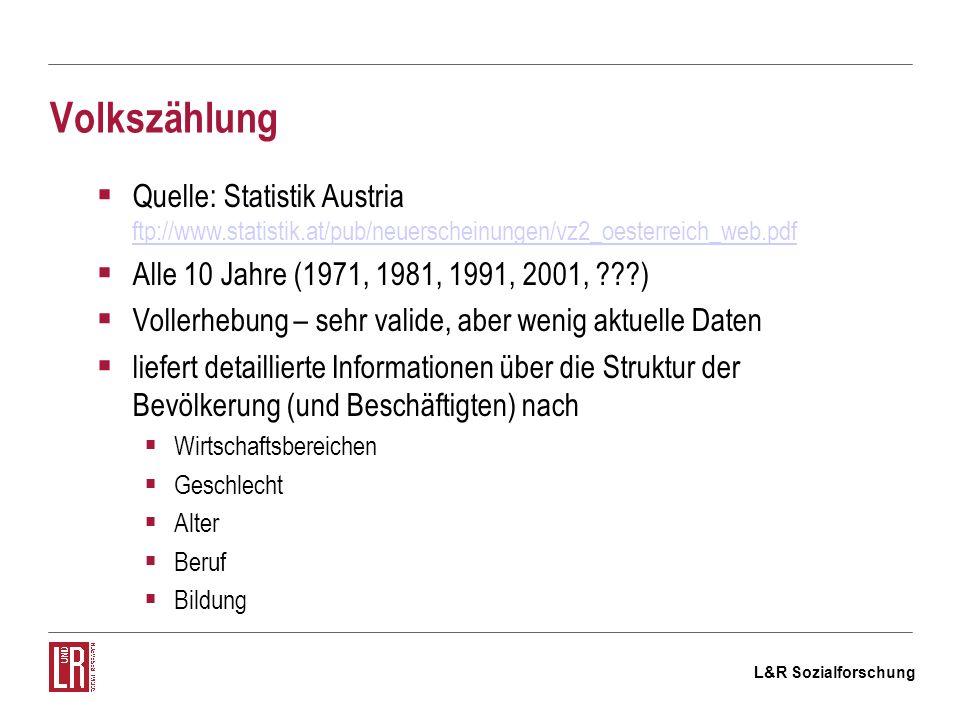L&R Sozialforschung Volkszählung Quelle: Statistik Austria ftp://www.statistik.at/pub/neuerscheinungen/vz2_oesterreich_web.pdf ftp://www.statistik.at/pub/neuerscheinungen/vz2_oesterreich_web.pdf Alle 10 Jahre (1971, 1981, 1991, 2001, ) Vollerhebung – sehr valide, aber wenig aktuelle Daten liefert detaillierte Informationen über die Struktur der Bevölkerung (und Beschäftigten) nach Wirtschaftsbereichen Geschlecht Alter Beruf Bildung