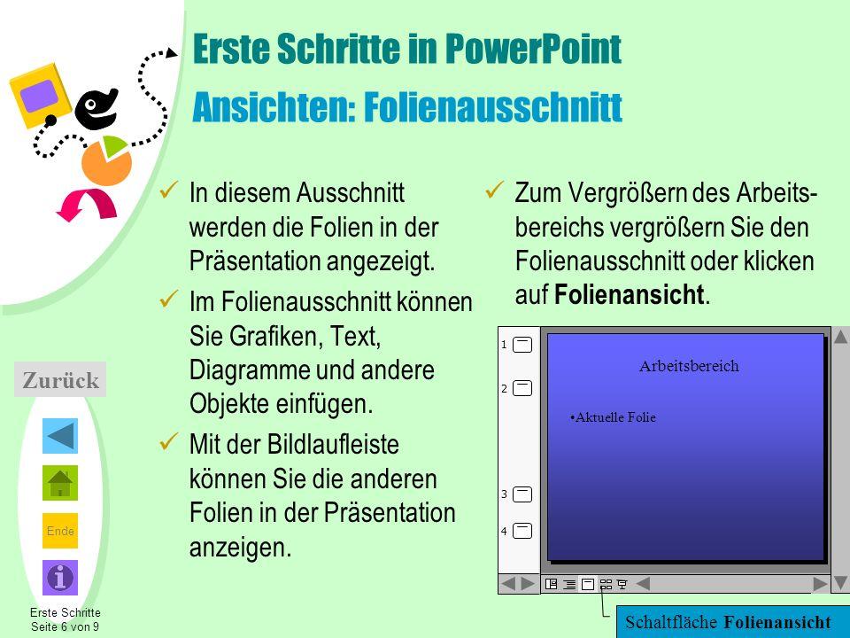Ende Erste Schritte in PowerPoint Ansichten: Folienausschnitt In diesem Ausschnitt werden die Folien in der Präsentation angezeigt. Im Folienausschnit