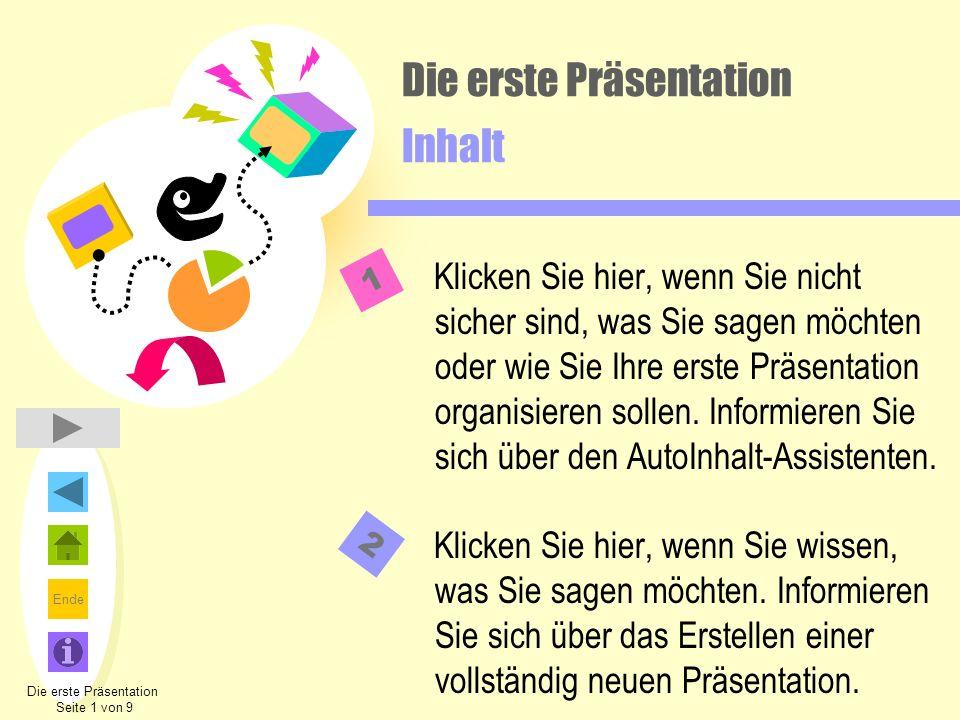 Ende Die erste Präsentation Inhalt Klicken Sie hier, wenn Sie nicht sicher sind, was Sie sagen möchten oder wie Sie Ihre erste Präsentation organisier