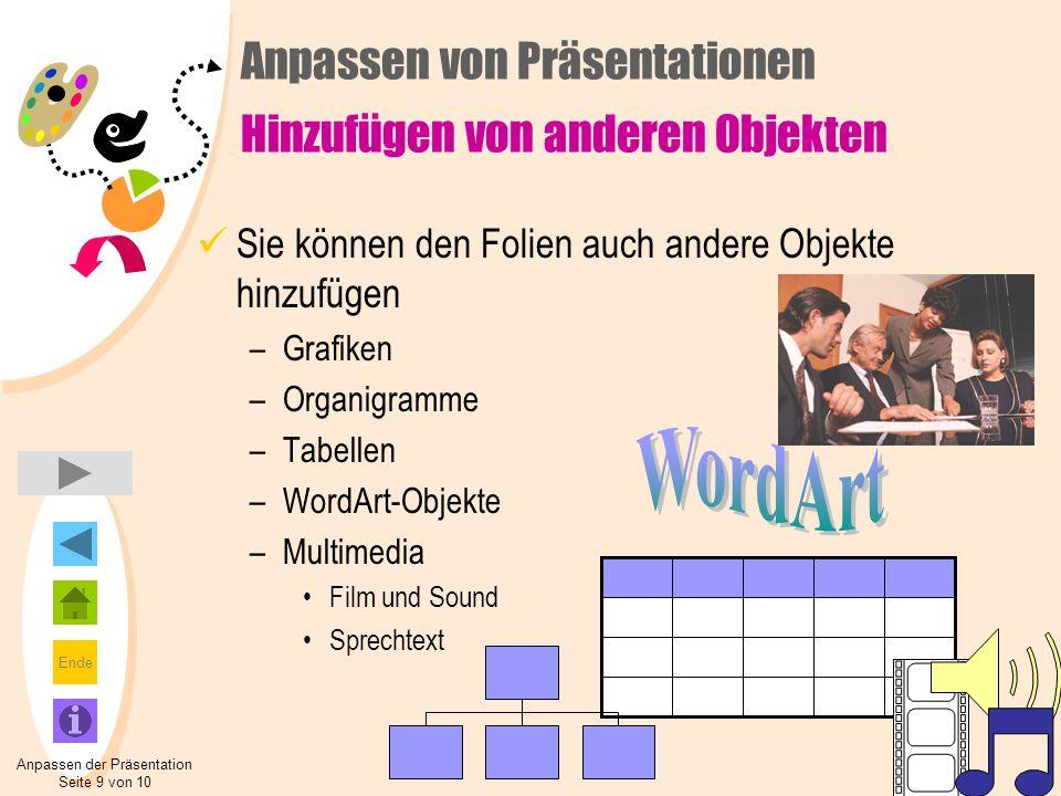 Ende Sie können den Folien auch andere Objekte hinzufügen –Grafiken –Organigramme –Tabellen –WordArt-Objekte –Multimedia Film und Sound Sprechtext Anp