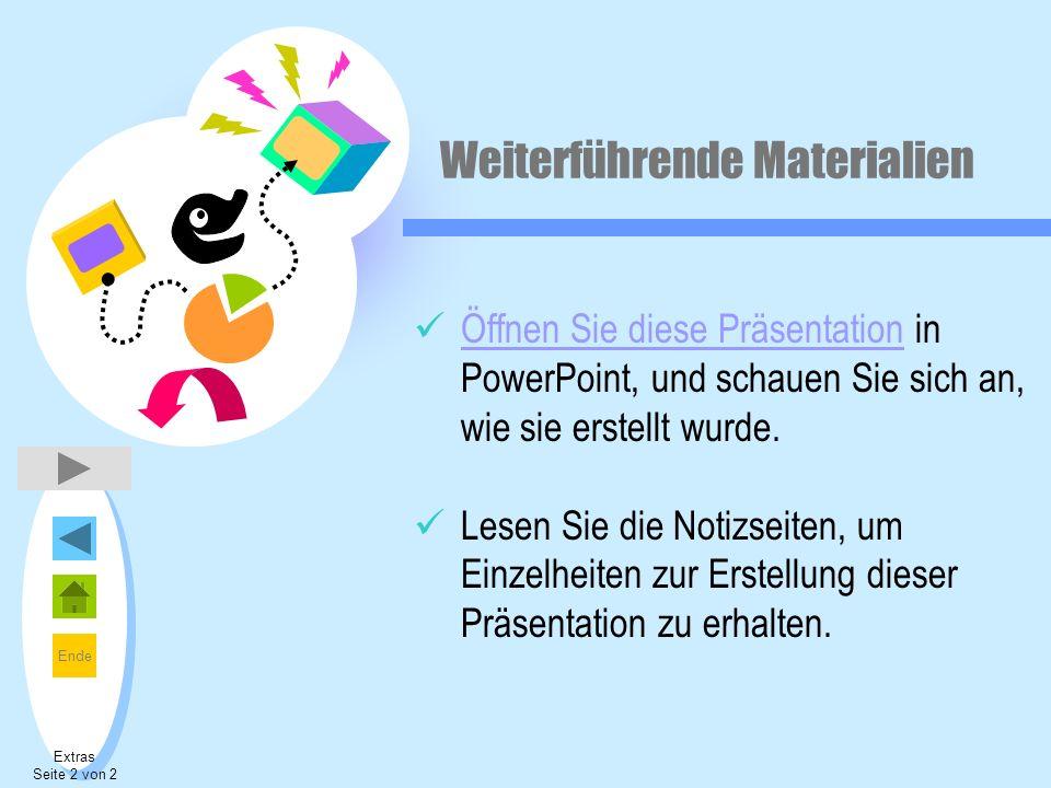 Ende Weiterführende Materialien Öffnen Sie diese Präsentation in PowerPoint, und schauen Sie sich an, wie sie erstellt wurde. Öffnen Sie diese Präsent