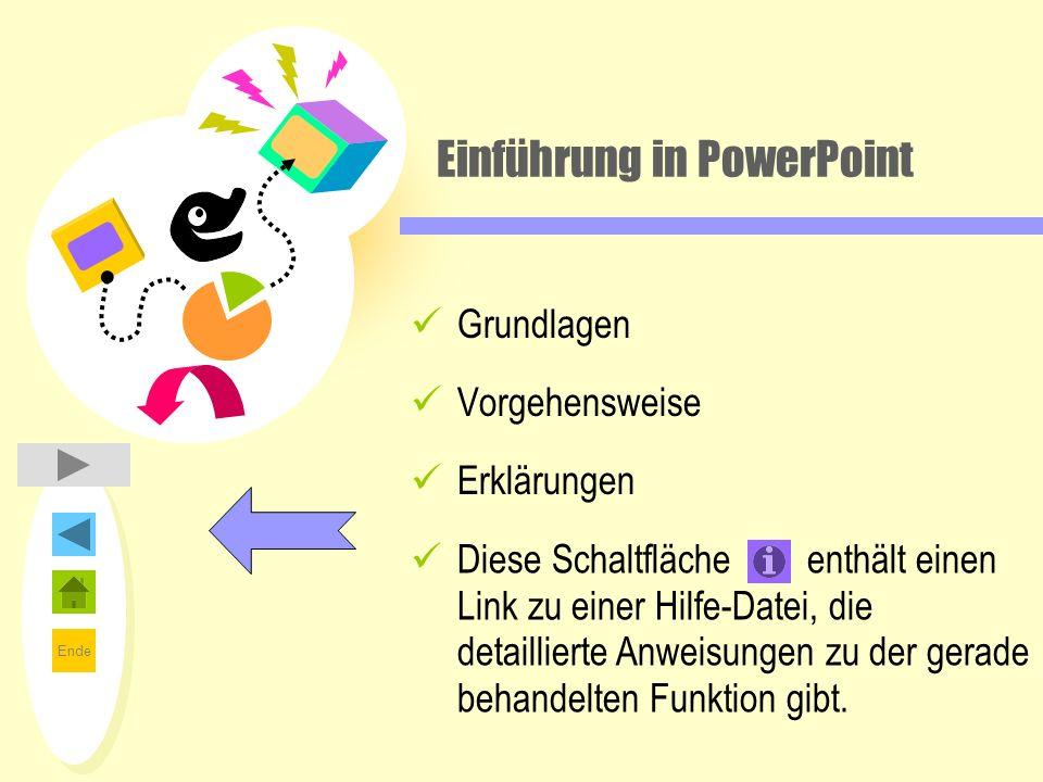 Ende Einführung in PowerPoint Grundlagen Vorgehensweise Erklärungen Diese Schaltfläche enthält einen Link zu einer Hilfe-Datei, die detaillierte Anwei