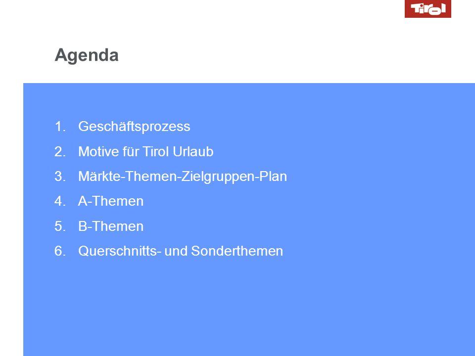 14.10.2008 // Marketing Day 2 1.Geschäftsprozess 2.Motive für Tirol Urlaub 3.Märkte-Themen-Zielgruppen-Plan 4.A-Themen 5.B-Themen 6.Querschnitts- und