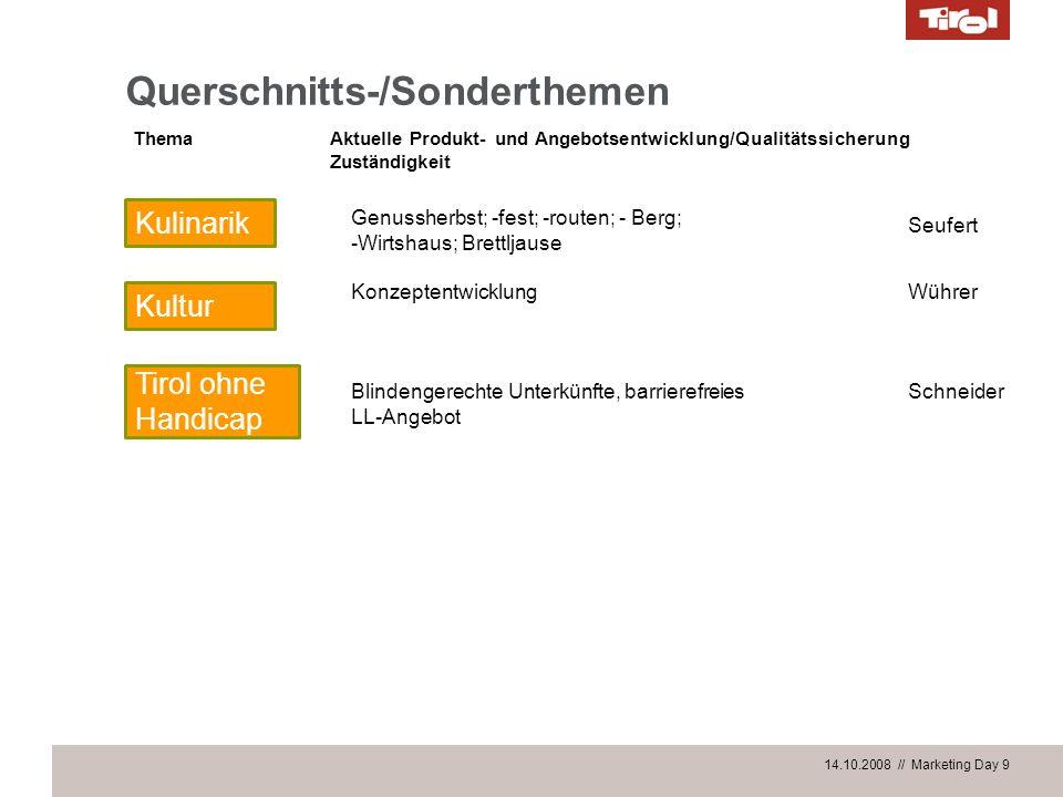 14.10.2008 // Marketing Day 9 Querschnitts-/Sonderthemen Blindengerechte Unterkünfte, barrierefreies LL-Angebot Tirol ohne Handicap Wührer ThemaAktuel