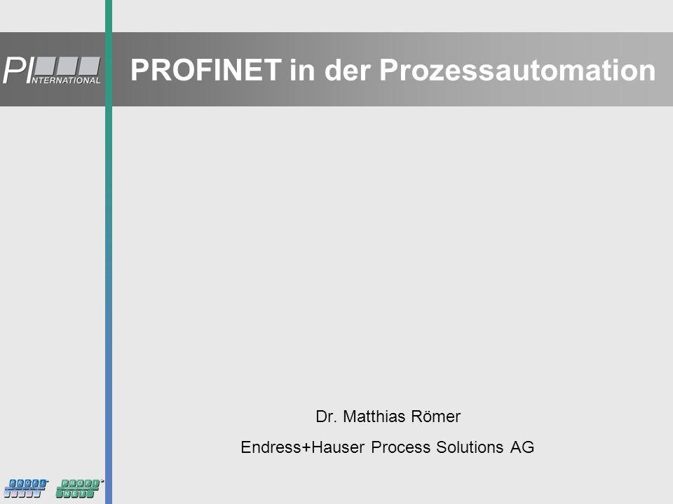 12 PROFIBUS International Bewertung von PROFINET in der Prozess- automation Einsatz- szenarien von PROFINET in der PA Anforderun- gen an die PROFIBUS PA-Integration Anforderungen an PROFINET Geräte f.