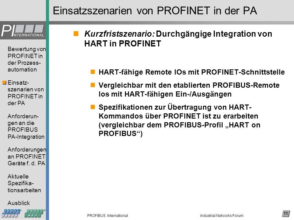 11 PROFIBUS International Bewertung von PROFINET in der Prozess- automation Einsatz- szenarien von PROFINET in der PA Anforderun- gen an die PROFIBUS