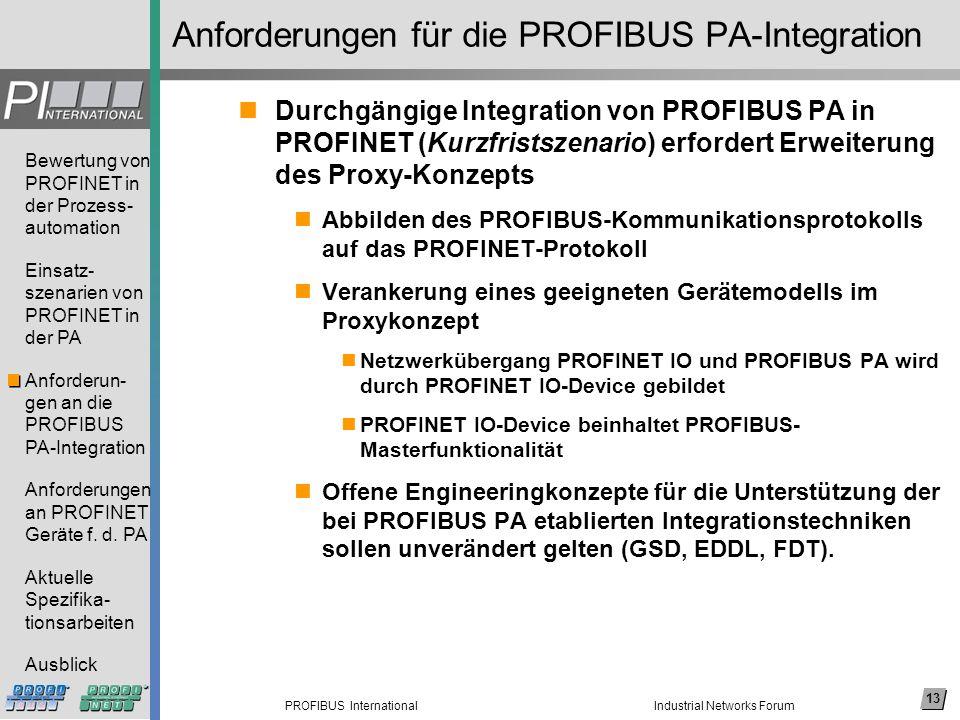 13 PROFIBUS International Bewertung von PROFINET in der Prozess- automation Einsatz- szenarien von PROFINET in der PA Anforderun- gen an die PROFIBUS