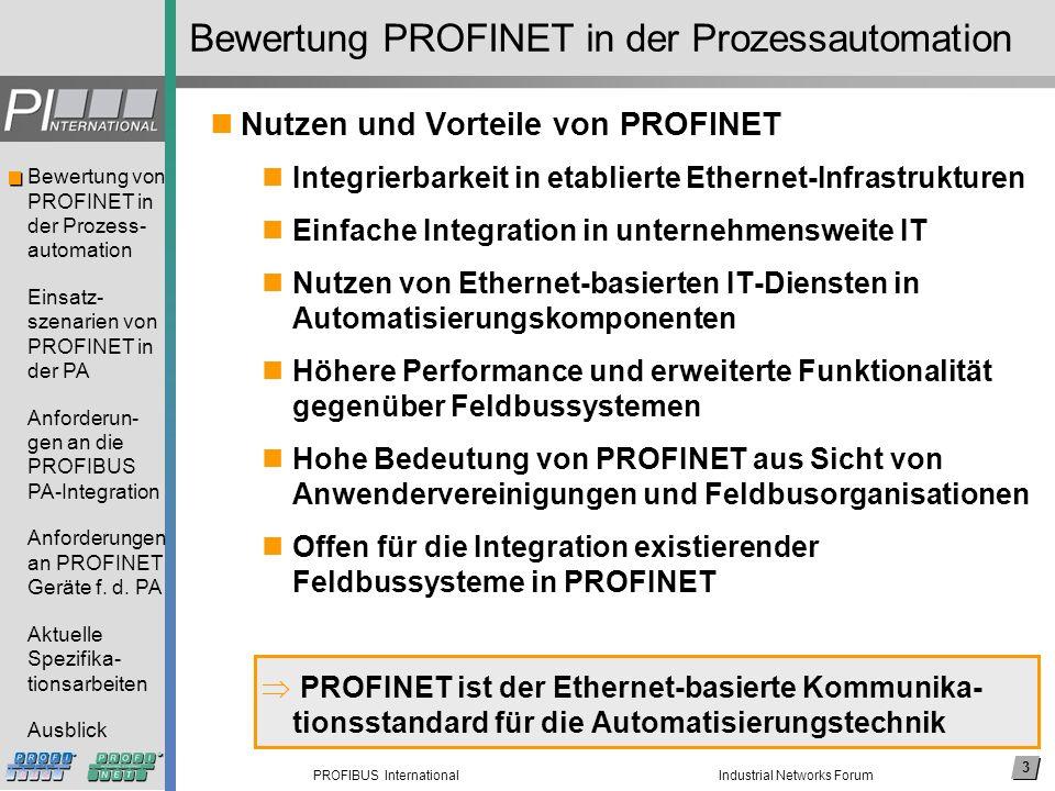 14 PROFIBUS International Bewertung von PROFINET in der Prozess- automation Einsatz- szenarien von PROFINET in der PA Anforderun- gen an die PROFIBUS PA-Integration Anforderungen an PROFINET Geräte f.